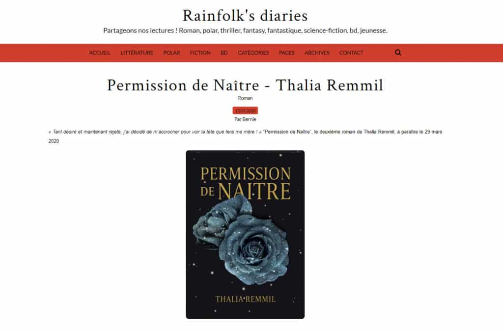 Permission de naître dans le RainFolk's Diaries