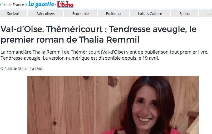 La Gazette du Val d'Oise interview Thalia Remmil pour son roman Tendresse Aveugle