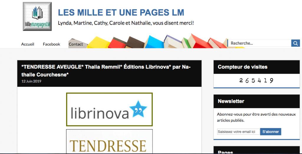 """Tendresse Aveugle dans le blog """"Les mille et un livres""""."""
