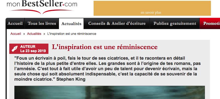"""Découvrez mon article """"L'inspiration est une réminiscence"""" publié par MonBestSeller.com"""